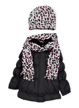 Toddler Girls Puffer Coat with Leopard Scarf and Beanie Hat - 3519038340112