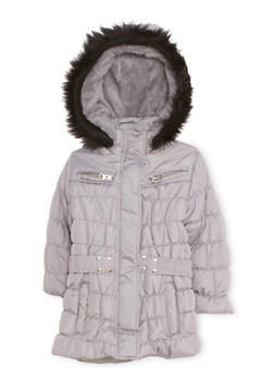 Toddler Girls Quilted Puffer Coat with Faux Fur Trim - 3519038340113