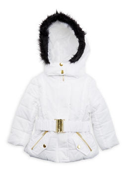 Toddler Girls Belted Puffer Coat with Faux Fur Hood - 3519038340114
