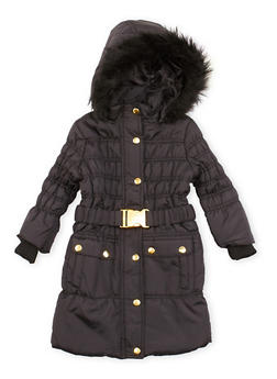 Toddler Girls Belted Puffer Coat with Faux Fur Trim - 3519038340115