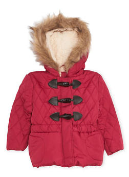 Toddler Girls Hooded Puffer Coat with Faux Fur - 3519038340116