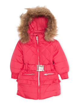 Toddler Girls Hooded Puffer Coat with Faux Fur Trim - 3519038340118
