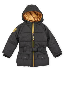 Toddler Girls Hooded Puffer Coat with Belt - 3519068325500