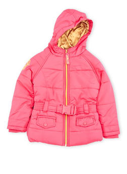 Toddler Girls Belted Puffer Jacket with Hood - 3519068325501