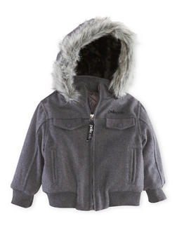 Toddler Boys Pelle Pelle Jacket with Faux Fur Trim - 3520068325561