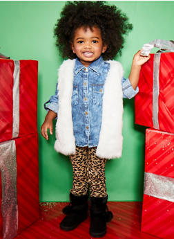 Toddler Girls Plush Fur Vest - 3521038340164