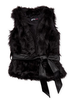 Toddler Girls Faux Fur Vest with Faux Leather Belt - 3521038340165
