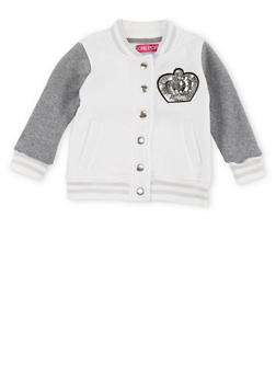 Toddler Girls Bomber Jacket with Sequin Crown Accent - WHITE - 3521038340188