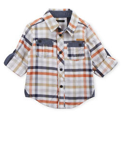 Toddler Boys Sean John Button Down Shirt in Multicolored Gingham Print - 3524072751021