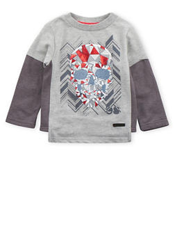 Toddler Boys Sean John Color Block Shirt with Skull Graphic - 3524072751042