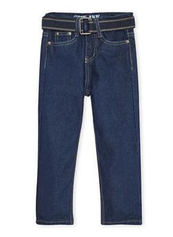 Toddler Boys Jeans with Webbed Belt - 3526073427175