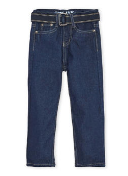 Toddler Boys Jeans with Webbed Belt - 3526073427176