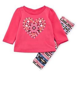 Baby Girl Fleece Sweatshirt and Leggings Set - 3540048370750