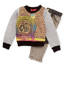 Baby Girl Graphic Long Sleeve Top and Skinny Jeans with Leopard Print - 3540054739905