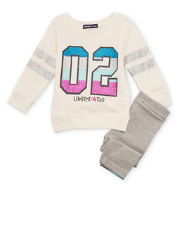 Baby Girl Limited Too Sparkly Numbered Top and Leggings - 3540060990062