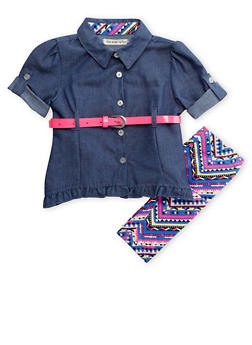 Baby Girls Chambray Top and Aztec Print Leggings with Neon Belt - 3540061957681