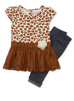 Baby Girl Leopard Print Skater Skirt and Jeggings Set - 3540070682013