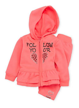 Baby Girl Ruffled Graphic Hoodie and Sweatpants Set - 3541038340002