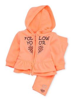 Baby Girl Ruffled Graphic Hoodie and Sweatpants Set - 3541038340002