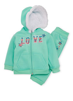 Baby Girl Hoodie and Joggers Set with Love Print - 3541038340005