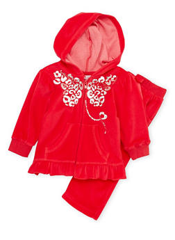 Baby Girl Ruffled Hoodie and Sweatpants Set with Graphic - 3541054732269