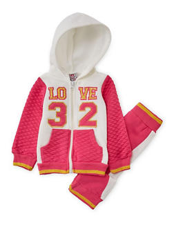 Baby Girl Love Graphic Hoodie with Sweatpants Set - 3541054732272