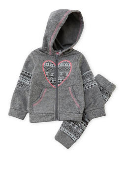 Baby Girl Hoodie and Joggers Set with Ikat Accents - 3541054732275