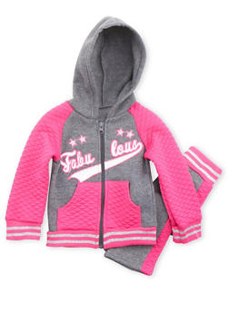 Baby Girl Zip Front Hoodie and Sweatpants Set - 3541054732277