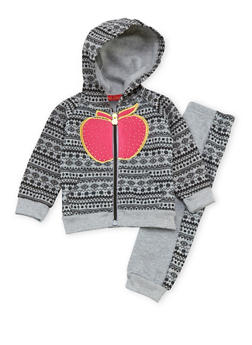 Baby Girl Apple Bottoms Joggers and Hoodie with Aztec Print - 3541054733129