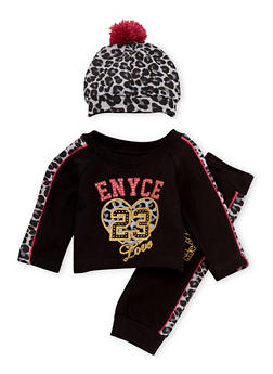 Baby Girl Enyce Graphic Top with Joggers and Hat Set - 3541054733202