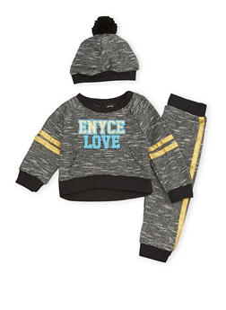 Baby Girl Enyce Sweatshirt and Joggers with Pom Pom Hat Set - 3541054733203