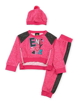 Baby Girl Enyce Sweatshirt with Joggers and Hat Set - 3541054733206
