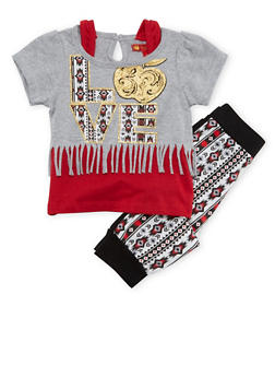 Baby Girl Glitter Love Fringe Top with Printed Joggers Set - 3541054733228