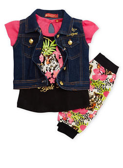 Baby Girl Apple Bottoms Graphic Tee with Denim Vest and Joggers Set - 3541054733236