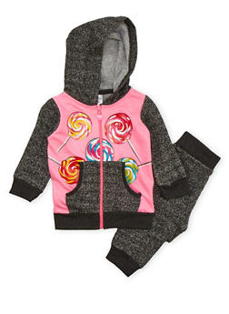 Baby Girl Printed Hoodie and Joggers Set - 3541060990095