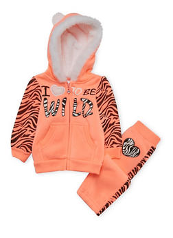 Baby Girls Animal Ear Hoodie and Joggers with Love to be Wild Print - 3541060991005