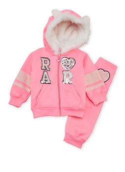 Baby Girl Graphic Hoodie and Joggers Set - 3541060991007