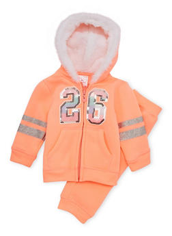 Baby Girl Hoodie and Joggers Set with Sequin Graphic - 3541060991014