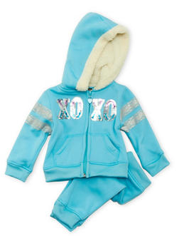 Baby Girls XOXO Sweat Suit with Sherpa Lined Hood - 3541061957508