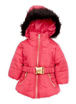 Baby Girl Belted Puffer Coat with Faux Fur Hood - 3544038340009
