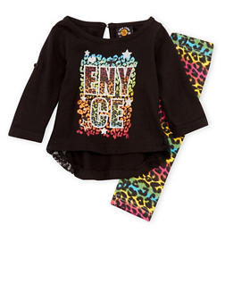 Baby Girl Enyce Graphic Top and Printed Leggings Set - 3547054733288
