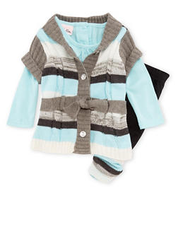 Baby Girl Long Sleeve Top with Button Front Sweater and Leggings Set - 3547070683724