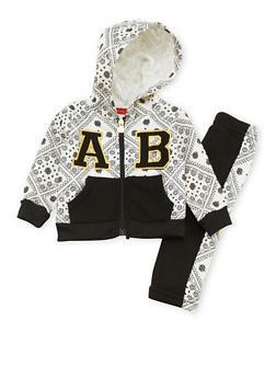 Baby Girl Apple Bottoms Zip Hoodie and Sweatpants Set - 3548054733128