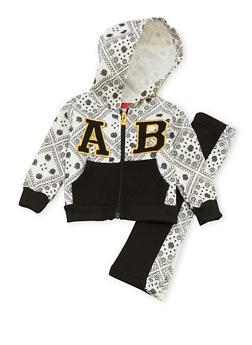 Baby Girl Apple Bottoms Zip Hoodie and Sweatpants Set - 3548054733129
