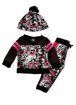 Baby Girl Enyce Three Piece Set with Love Print - 3548054733200