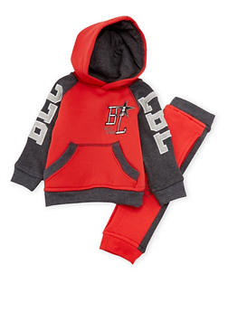 Baby Boy Blac Label Color Block Hoodie and Joggers Set - 3551061955345