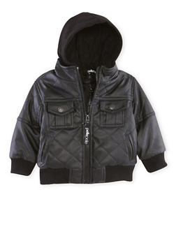 Baby Boy Pelle Pelle Faux Leather Jacket with Hood - 3554068325540