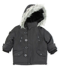 Baby Boy Pelle Pelle Parka Jacket with Faux Fur Hood - 3554068325550