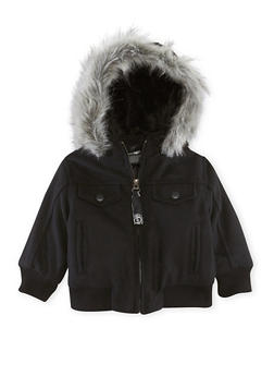 Baby Boy Pelle Pelle Jacket with Faux Fur Trim - 3554068325560