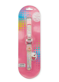 Girls Plastic Printed Digital Watch with Clips - 3591049040002